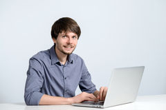 Workplace man with notebook Stock Photography