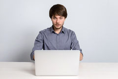 Workplace man with notebook Royalty Free Stock Images
