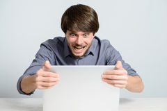 Workplace man with notebook. And mobile phone Royalty Free Stock Photos