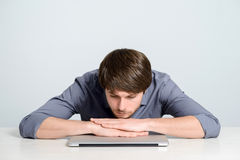 Workplace man with notebook. And mobile phone Stock Images