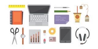 Workplace with mobile devices and documents. Office personal and Business Icons vector set. work table with gadget Stock Photo
