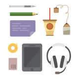 Workplace with mobile devices and documents. Office personal and Business Icons vector set. work table with gadget Royalty Free Stock Image