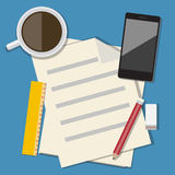 Workplace with mobile devices and documents. Vector flat design Stock Images