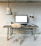 Workplace Mockup in Industrial Loft Royalty Free Stock Image