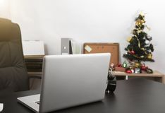 Workplace with modern computer on desk office. Workplace with modern computer on desk office in christmas day Stock Images