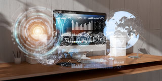 Workplace with modern devices and hologram screens 3D rendering Royalty Free Stock Photos