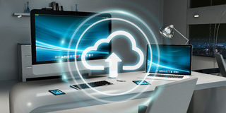 Workplace with modern hologram cloud icon 3D rendering Stock Photo