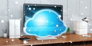 Workplace with modern hologram cloud icon 3D rendering. Office with modern devices and digital cloud icon floating 3D rendering Royalty Free Stock Images