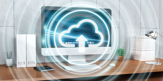 Workplace with modern hologram cloud icon 3D rendering. Office with modern devices and digital cloud icon floating 3D rendering Stock Image