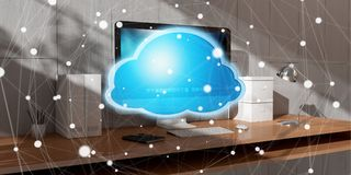 Workplace with modern hologram cloud icon 3D rendering. Office with modern devices and digital cloud icon floating 3D rendering Royalty Free Stock Photos