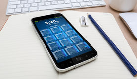 Workplace with modern mobile phone Royalty Free Stock Images