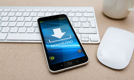 Workplace with modern mobile phone Royalty Free Stock Photos