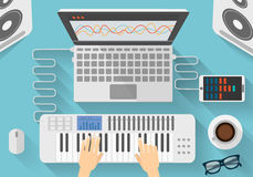 Workplace of modern music artist. Flat design illustration of dj creative process. Stock Photo