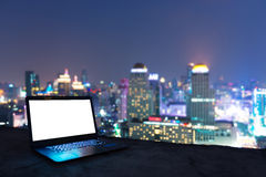 Workplace in the night city Stock Photos