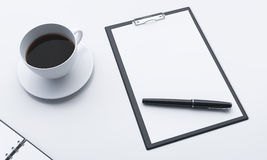 Workplace, note pad and coffee Royalty Free Stock Photo