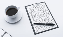 Workplace, note pad and coffee Royalty Free Stock Image