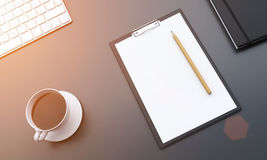 Workplace, notepad and coffee Stock Photo
