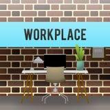 workplace O projeto do armário contra uma parede de tijolo Imagem de Stock Royalty Free