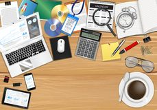 Workplace with object and tools on wood table Stock Image