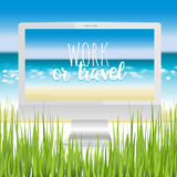 Workplace ocean beach Royalty Free Stock Photography
