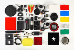 Free Workplace Of The Photographer. Photoaccessories Royalty Free Stock Image - 67495916