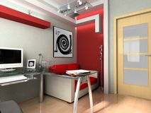 Workplace at office. Modern interior of office, exclusive design Stock Image