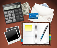 Workplace office and business work elements set Stock Photo