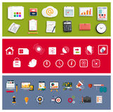 Workplace office and business work elements set Stock Image
