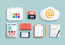 Workplace office and business work elements set Royalty Free Stock Photography
