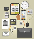 Workplace office and business work elements set Royalty Free Stock Images