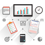Workplace office and business work elements set Royalty Free Stock Image