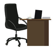 Workplace. Office chair and office desk with a laptop and a Cup of coffee Stock Image