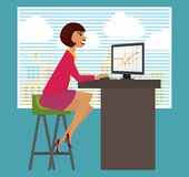Workplace, office desk. Business woman working at Stock Images