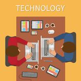 Workplace, office desk. IT technology and web Royalty Free Stock Photography