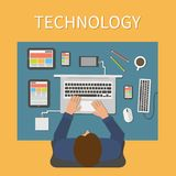Workplace, office desk. IT technology and web Stock Photography