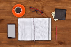 Workplace with office items Royalty Free Stock Photos