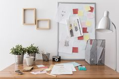 Workplace with office supplies Stock Photo