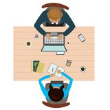 Workplace in office top view. business consulting concept. Isolated on white background. Flat vector illustration Stock Photography
