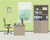 Workplace of office worker. Vector flat illustration. On the picture the desktop, case for documents, a chair, the  computer and other objects are situated on Stock Images