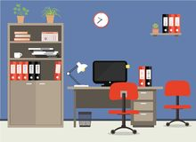 Workplace of office worker. Vector flat illustration. On the picture the desktop, case for documents, a chairs, the  computer, folders, a lamp and other Royalty Free Stock Images