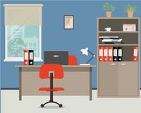 Workplace of office worker. Vector flat illustration. On the picture the desktop, case for documents, a chairs, the  computer and other objects in red colors Royalty Free Stock Image