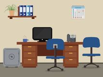 Workplace of office worker. Vector flat illustration. On the picture the desktop, a chairs, the  computer, a phone, a safe, folders and other objects in blue Stock Photography