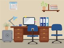 Workplace of office worker. Vector flat illustration. On the picture the desktop, a chairs, the  computer,  a safe, folders, a lamp and other objects in blue Stock Photography