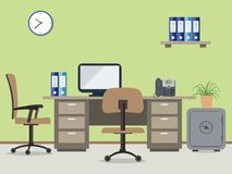 Workplace of office worker. Vector flat illustration. There are the desktop, a chairs, a computer, a phone, a safe, folders and other objects on a green Stock Photography