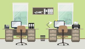 Workplace of office workers on a green background. Vector flat illustration. There are two tables, two beige chairs, shelf for documents and other objects in Royalty Free Stock Images