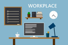 Workplace in old home room. Stylish and old interior. Royalty Free Stock Photo