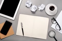 Workplace. Open notebook with blank pages Royalty Free Stock Photo