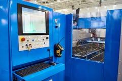 Workplace of operator laser cutting machine. Workplace of the operator of the laser cutting machine Stock Photo
