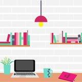 workplace Ordinateur et étagères sur un mur de briques illustration stock