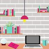 workplace Ordinateur et étagères sur un mur de briques illustration libre de droits